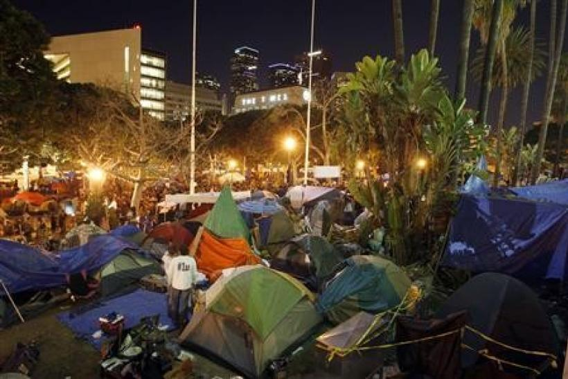The Occupy Los Angeles encampment at City Hall Park is seen before the midnight deadline for eviction from City Hall Park passes in Los Angeles