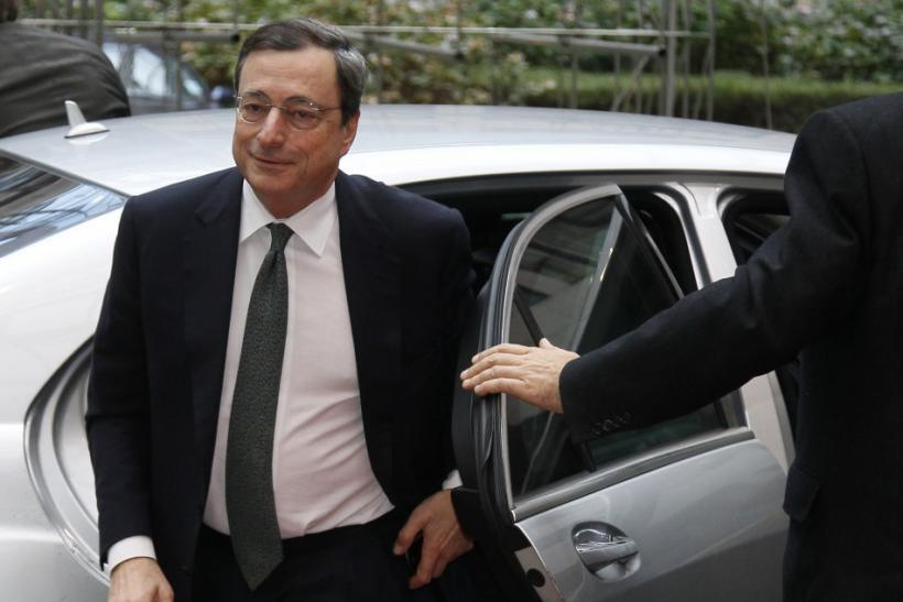 European Central Bank President Draghi arrives at a Eurogroup meeting at the European Union council headquarters in Brussels