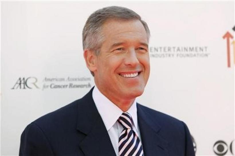 NBC news anchor Brian Williams poses at the ''Stand Up To Cancer'' television event, aimed at raising funds to accelerate innovative cancer research, at the Sony Studios Lot in Culver City, California