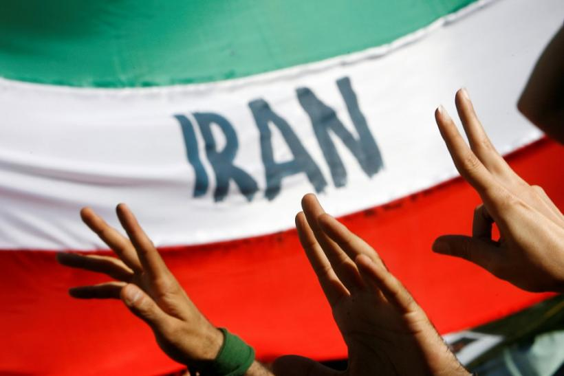 Iranian university exchange students protest election results outside Iran's embassy to Italy in Rome
