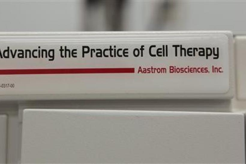 The logo of Aastrom Biosciences Inc is seen on an incubator in a laboratory at their headquarters in Ann Arbor, Michigan November 29, 2011.