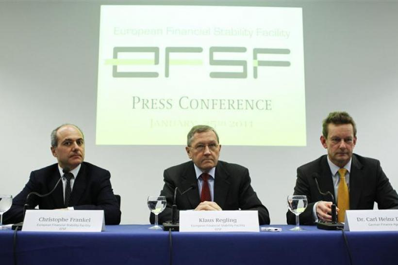 CFO of the European Financial Stability Facility Frankel, CEO of the European Financial Stability Facility Regling and Daube CEO of the German Finance Agency attend a news conference in Frankfurt