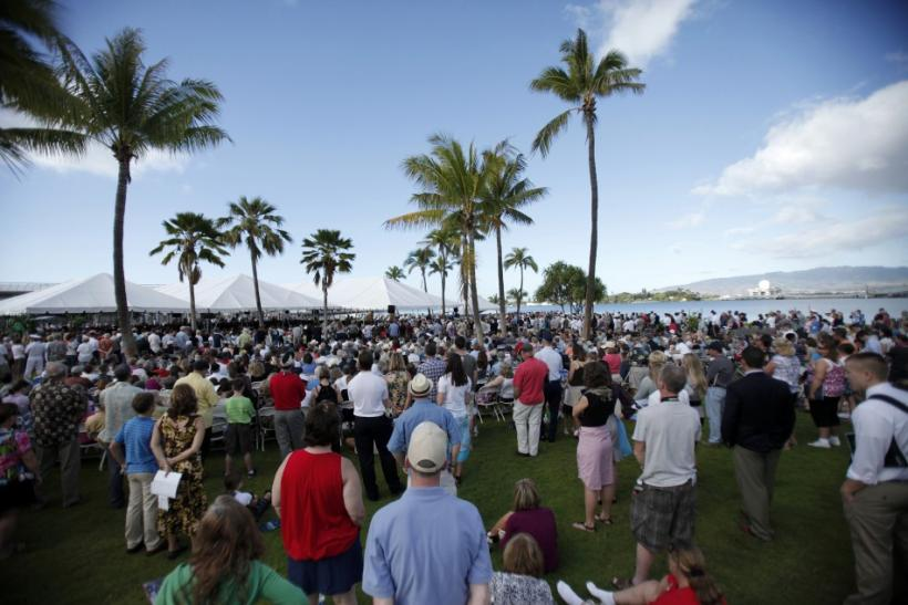 Hundreds of people attend the 70th anniversary of the attack on Pearl Harbor at the World War II Valor in the Pacific National Monument in Honolulu, Hawaii