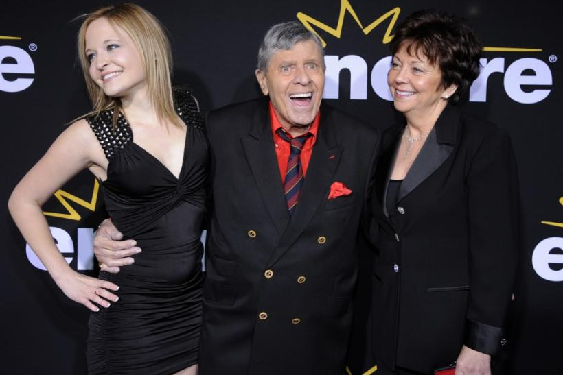 "Jerry Lewis (C) attends a special screening of the feature-length documentary ""Method to the Madness of Jerry Lewis"" held at Paramount Studios in Los Angeles, with his wife SanDee Pitnick (R) and daughter Danielle Lewis"