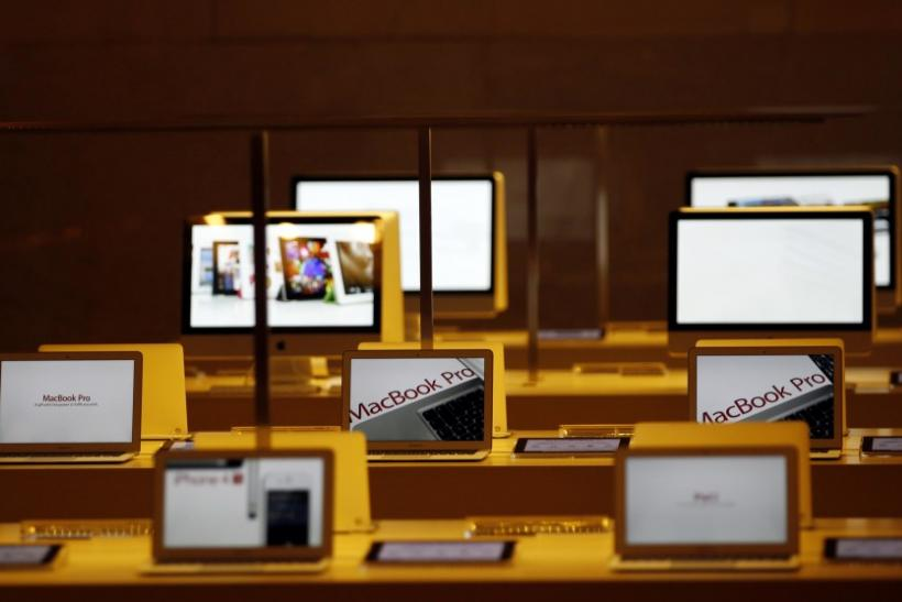 Apple computers are seen inside the newest Apple Store in New York City's Grand Central Station