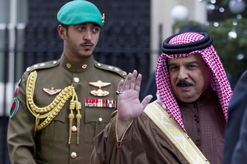 Bahrain's King Hamad bin Isa Al Khalifa waves as he leaves 10 Downing Street in London