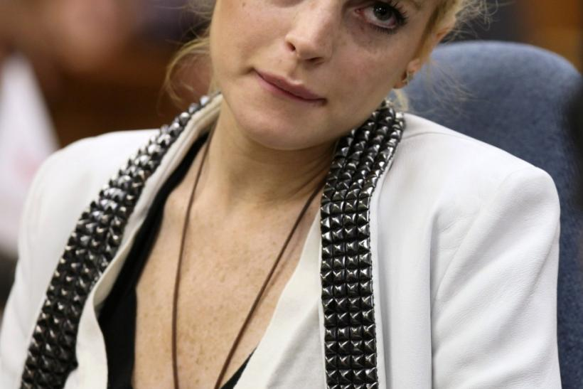 Actress Lindsay Lohan attends a progress report hearing for her 2007 drunk driving case at a courthouse in Beverly Hills