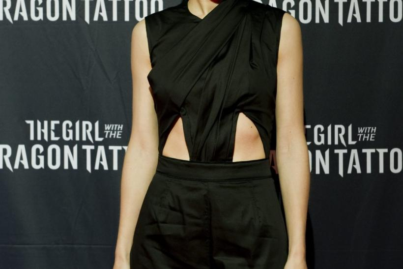 """Actress Rooney Mara arrives at the premiere of her movie """"The Girl with the Dragon Tattoo"""" at Sergel theatre in Stockholm"""