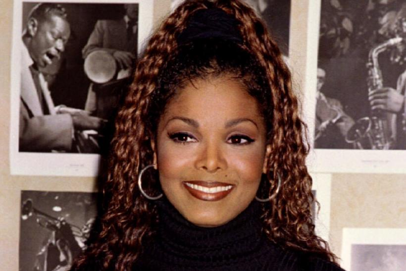"Singer Janet Jackson holds the Grammy Award which she won recently in the Best R&B Song category for ""That's The Way Love Goes,"" April 7."