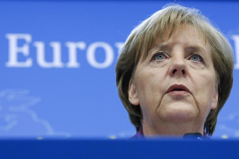 Germany's Chancellor Angela addresses a news conference at the end of an EU leaders summit in Brussels