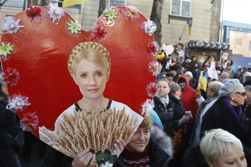 Supporters of Ukrainian former-Prime Minister Yulia Tymoshenko attend a rally in front of the prison where she is being held after being sentenced to seven years imprisonment, in Kiev