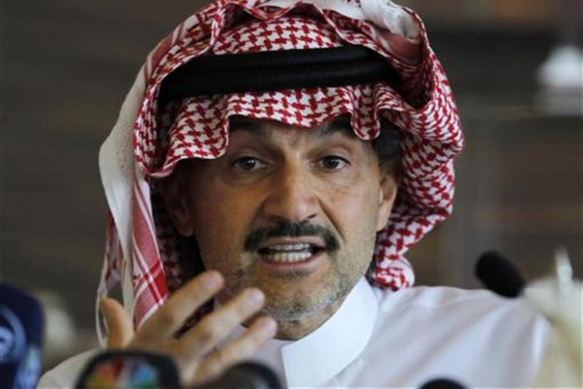 Saudi Prince Alwaleed speaks at a news conference in Riyadh