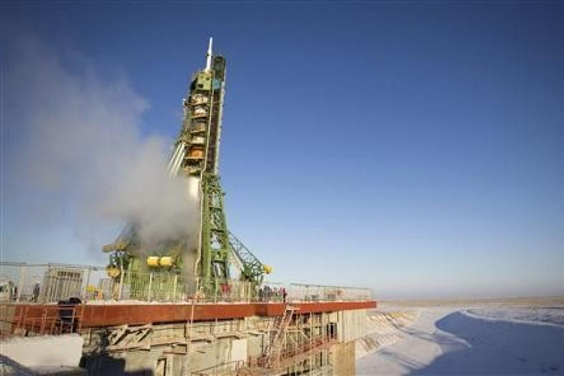 The Soyuz TMA-03M spacecraft rests on its launch pad before the blast off with the International Space Station (ISS) crew at Baikonur cosmodrome, December 21, 2011.