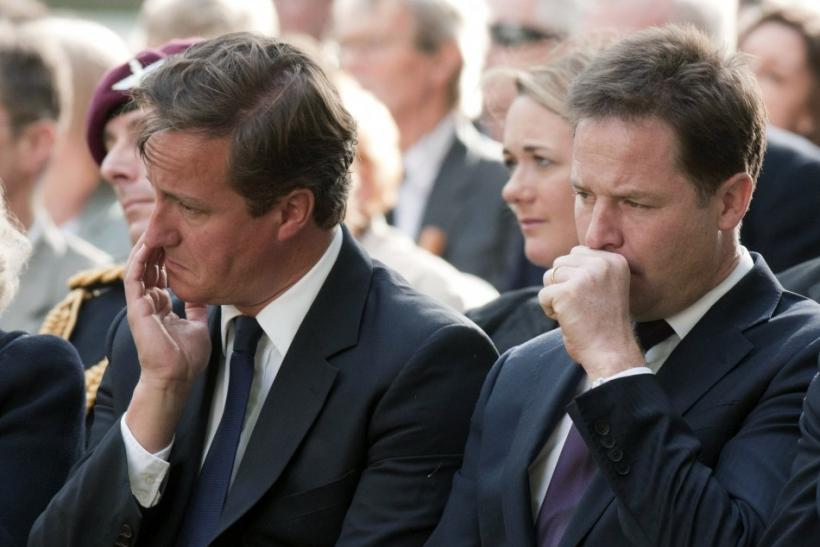 Britain's Prime Minister Cameron and Deputy Prime Minister Clegg attend the 10th anniversary ceremony of the 9/11 attacks, in London