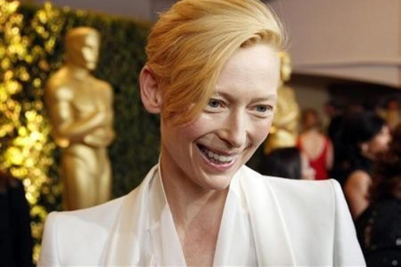Tilda Swinton is interviewed at the Academy of Motion Picture Arts and Sciences' 2011 Governors Awards in Hollywood, California