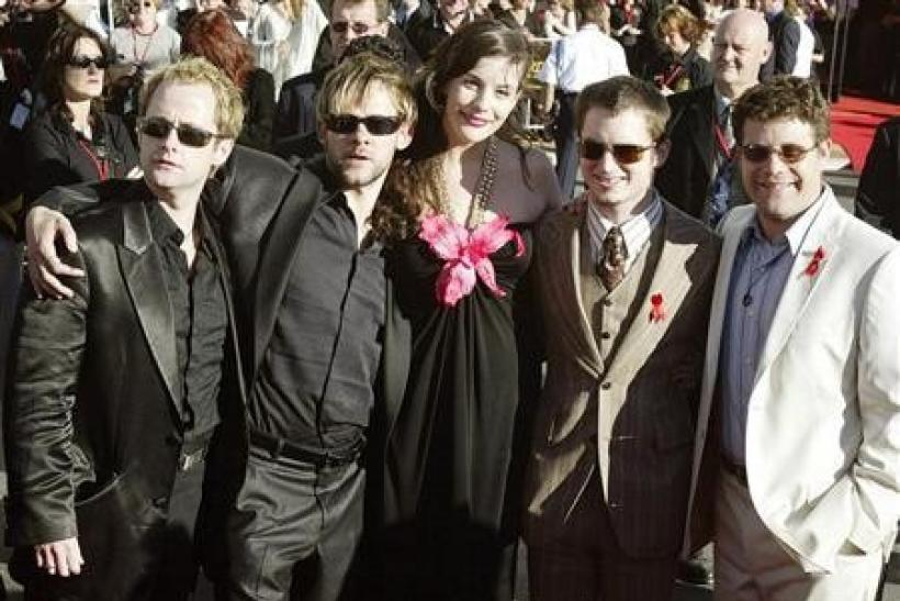 Cast members (L-R) Billy Boyd (Pippin ), Dominic Monaghan (Merry), Liv Tyler (Arwen), Elijah Wood (Frodo) and Sean Astin (Sam) arrive for the world premiere of Lord of the Rings, The Return of the King at the Embassy Theatre in Wellington