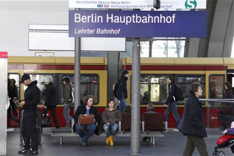 A S-Bahn city train is seen on a platform at the main railway station Hauptbahnhof in Berlin
