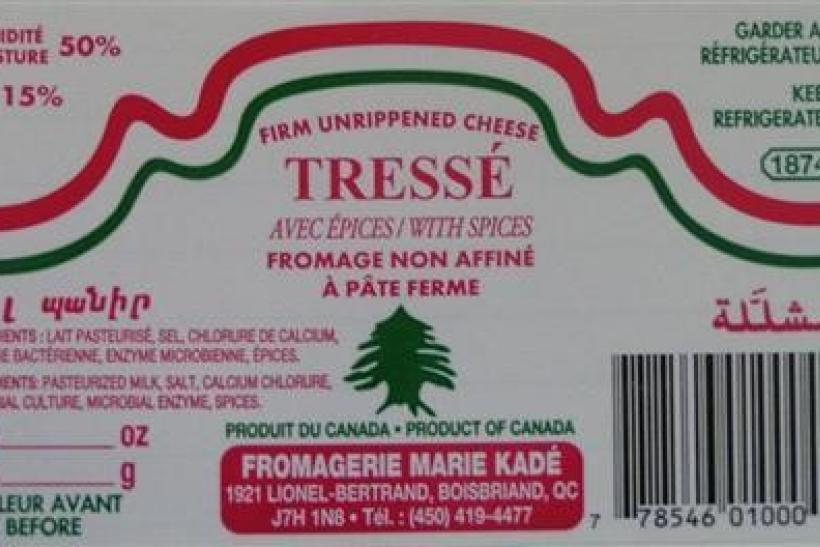 A label from a recalled package of Tresse cheese is seen in an undated handout photo.