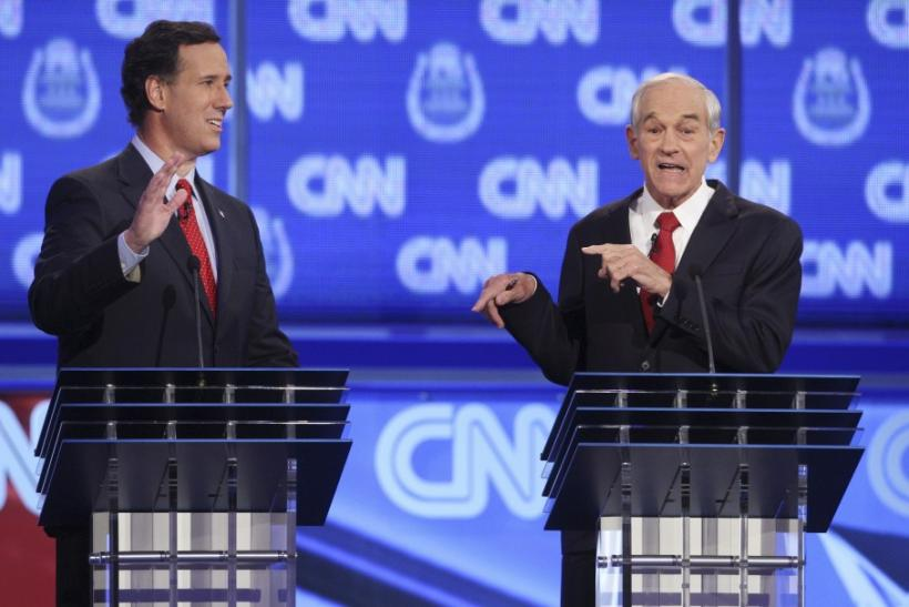 GOP candidates Rick Santorum and Ron Paul take part in the CNN Western Republican debate