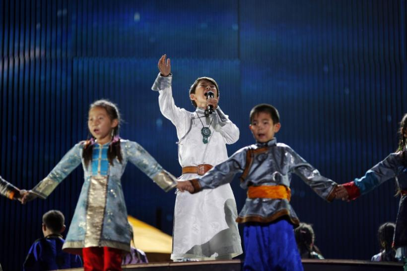 """A boy sings during the final round of """"China's Got Talent"""" in Shanghai"""
