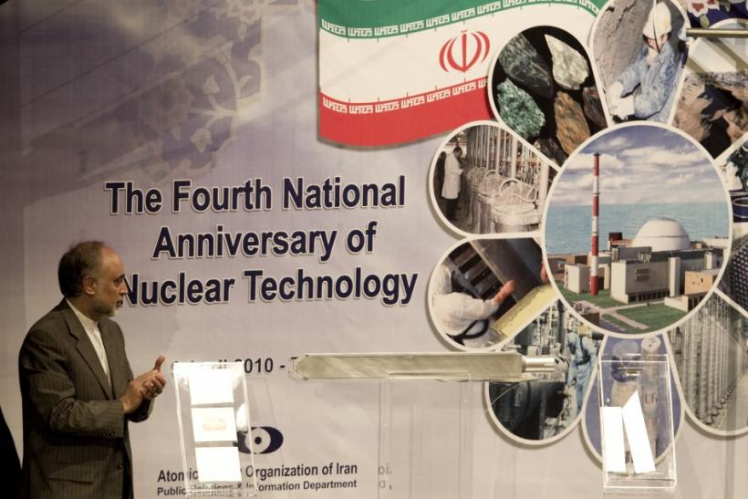 Ali Akbar Salehi, head of Iran's Atomic Energy Organisation, claps as he looks at an object representing nuclear fuel which will be used in Tehran's research reactor during a ceremony to mark the Fourth National Anniversary of Nuclear Technology