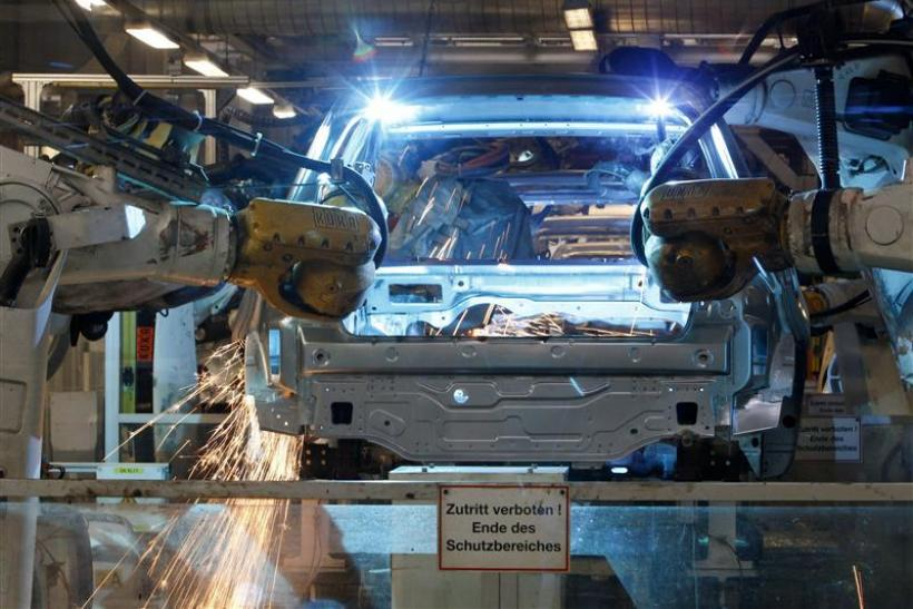 Welding robots assemble a bodywork of a Volkswagen's Golf VI car in a production line at the Volkswagen headquarters in Wolfsburg