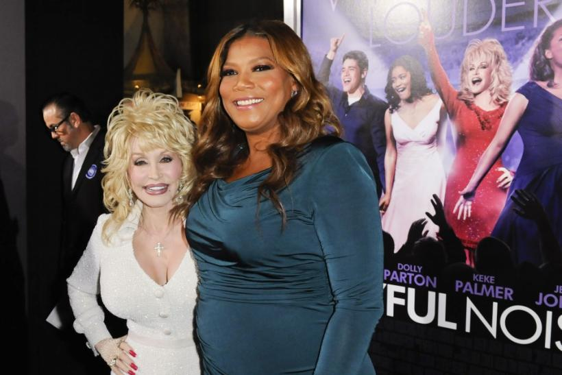 "Cast members Dolly Parton (L) and Queen Latifah (R) arrive at the Hollywood premiere of ""Joyful Noise"" in Los Angeles, California"