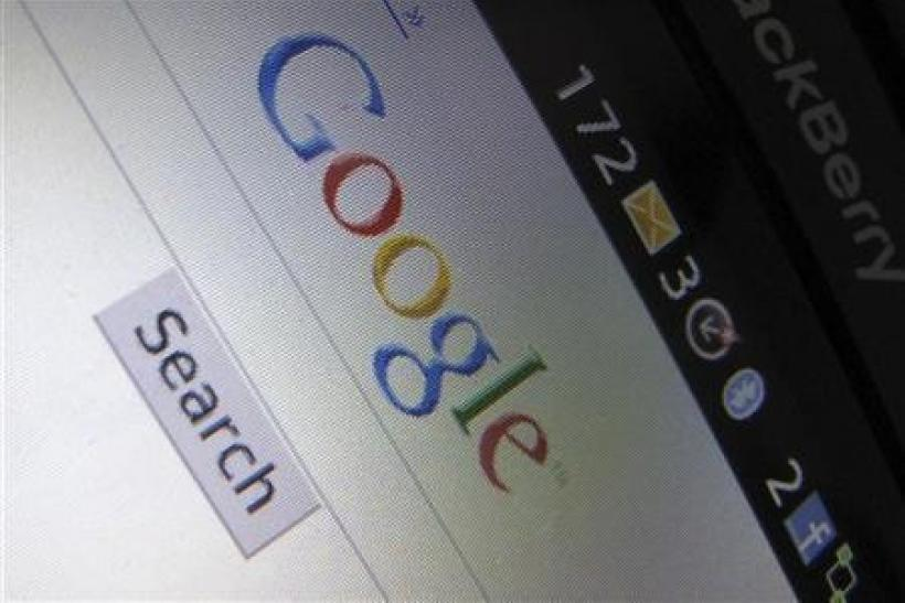 A Google Inc page is shown on a blackberry phone in Encinitas, California April 13, 2010.