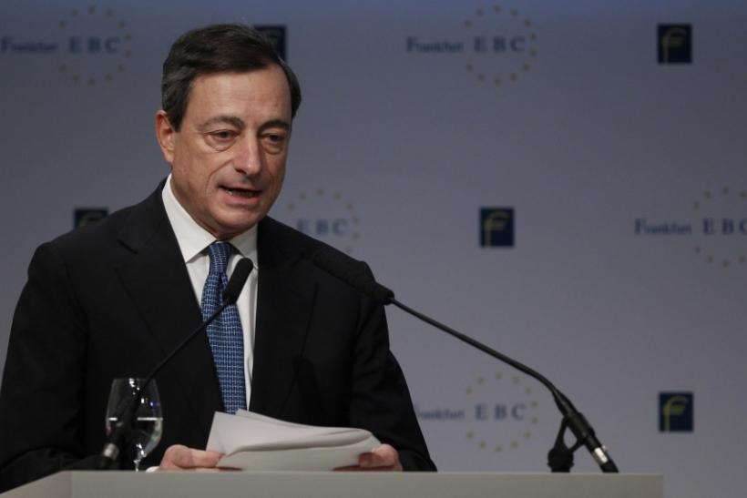 European Central Bank (ECB) President Mario Draghi holds his speech during the European Banking Congress 2011 in Frankfurt November 18, 2011.