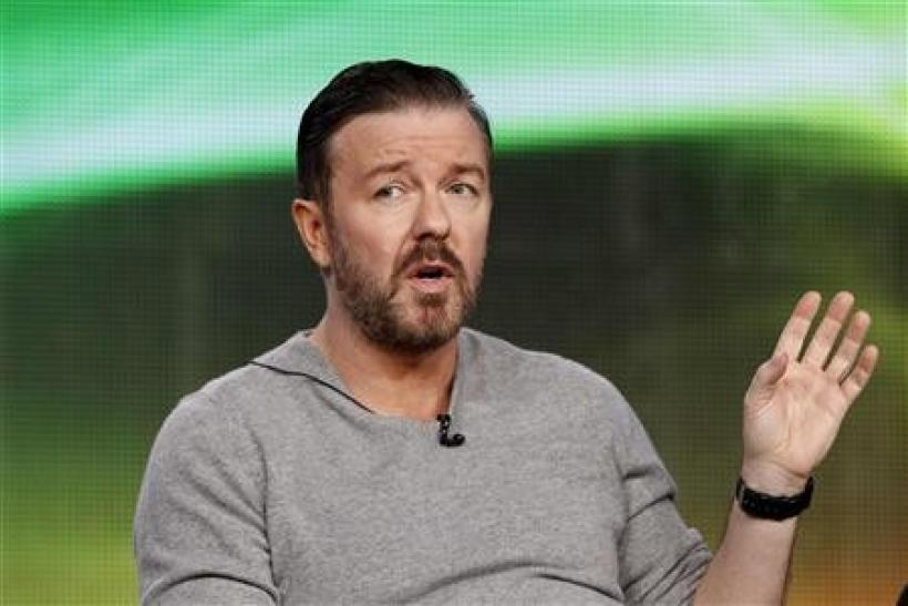 Cast member Ricky Gervais answers a question during the panel for the HBO television series ''Life's Too Short'' at the Television Critics Association winter press tour in Pasadena, California