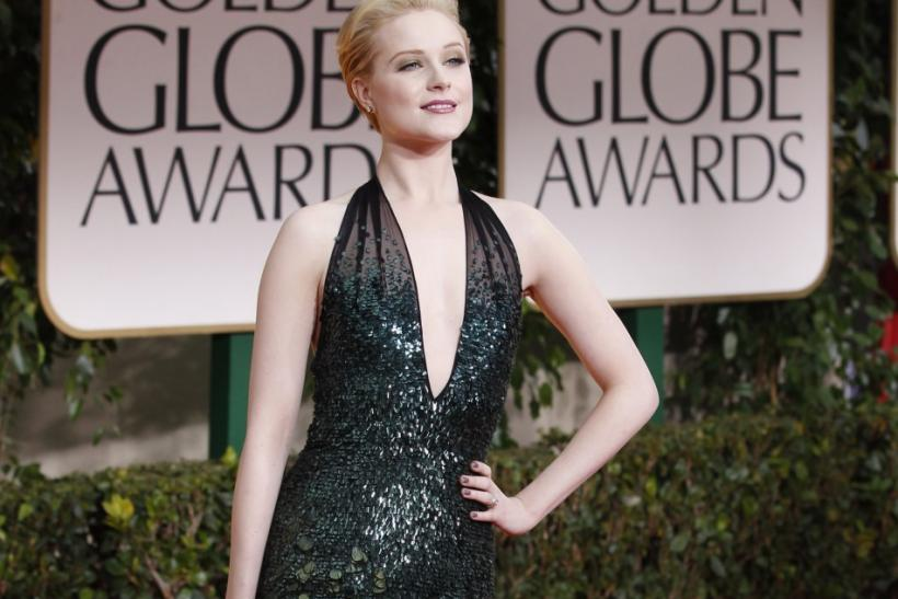 Actress Evan Rachel Wood poses as she arrives at the 69th annual Golden Globe Awards in Beverly Hills, California