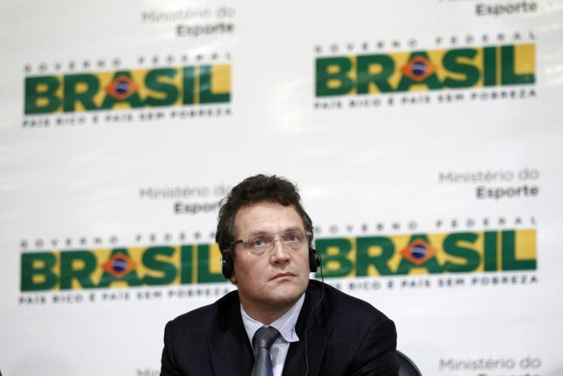 Jerome Valcke attends a news conference about the update on preparations for the 2014 World Cup in Brasilia