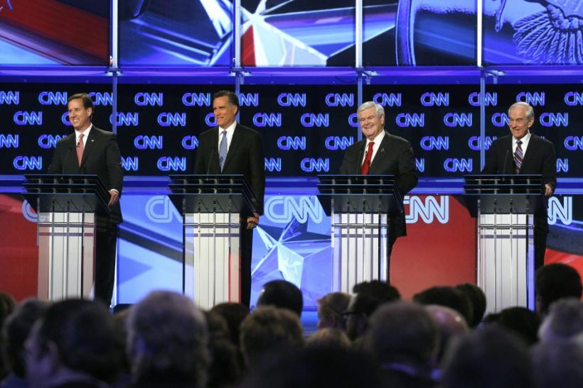 Republican presidential candidates (L-R) former U.S. Senator Rick Santorum (R-PA), former Massachusetts Governor Mitt Romney, former House Speaker Newt Gingrich and U.S. Rep. Ron Paul (R-TX)