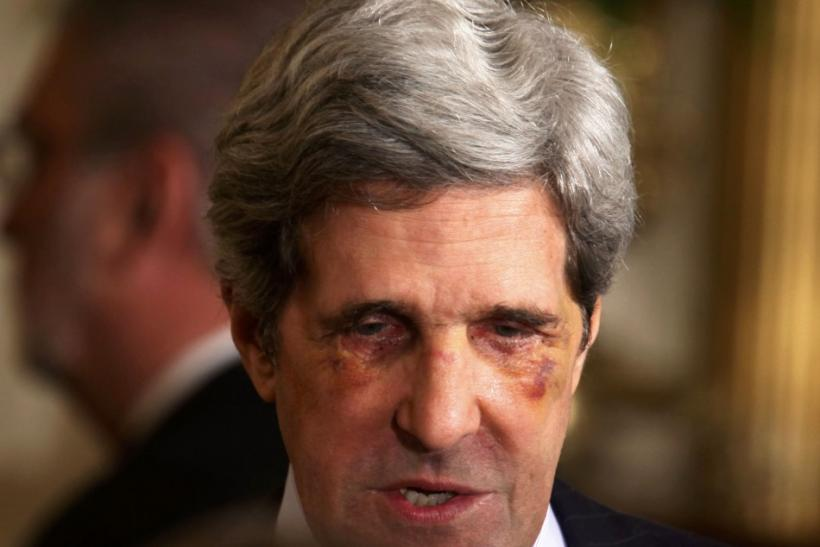 U.S. Senator John Kerry talks after event in the East Room at the White House in Washington