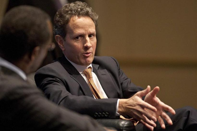 Treasury Secretary Timothy Geithner speaks at the Charlotte Chamber of Commerce in Charlotte