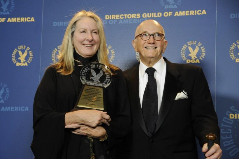 Presenter Betty Thomas (R) poses with Honorary Life Membership award recipient Ed Sherin at the 64th annual Directors Guild of America Awards in Los Angeles