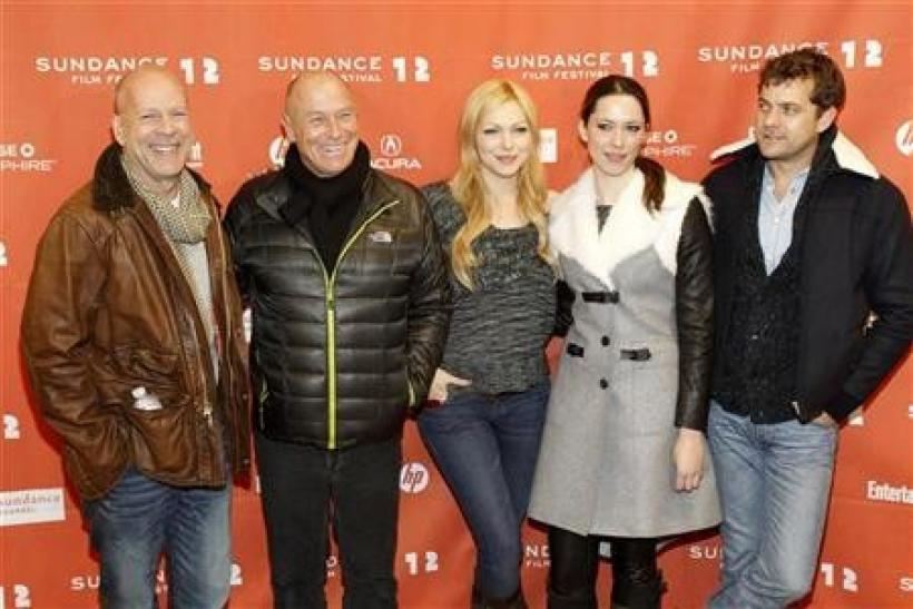 Cast members (from L-R) Bruce Willis, Corbin Bernsen, Laura Prepon, Rebecca Hall and Joshua Jackson pose at the premiere of the film ''Lay the Favorite'' at the Eccles theatre during the Sundance Film Festival in Park City, Utah