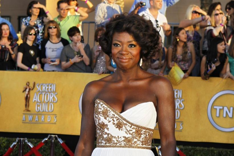 "Nominee Viola Davis from the movie ""The Help"" poses on arrival at the 18th annual Screen Actors Guild Awards in Los Angeles, California"