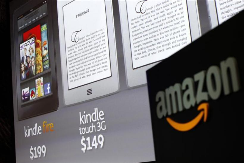 Graphics of new Amazon Kindle tablets seen at news conference in New York