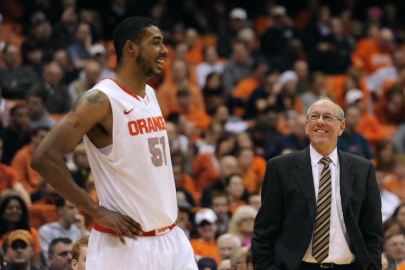 Jim Boeheim (right) should be glad to have Fab Melo (left) back on the team