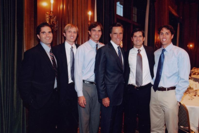 Mitt Romney (3rd R) and his sons, Tagg, Ben, Josh, Matt, and Craig (L-R) are seen in this 2008 handout photo from the Romney for President campaign, received by Reuters