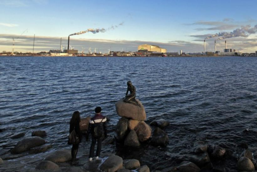 Tourists look at the sculpture of the Little Mermaid, inspired from a fairy tale written by Hans Christian Andersen, a famous landmark of Copenhagen January 26, 2011.