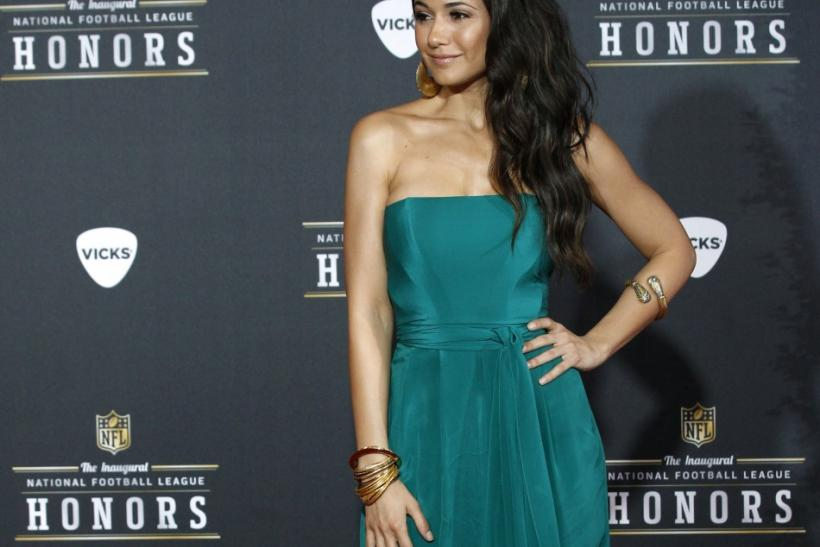 Actress Emmanuelle Chriqui arrives for the Inaugural National Football League Honors at Super Bowl XLVI in Indianapolis, Indiana