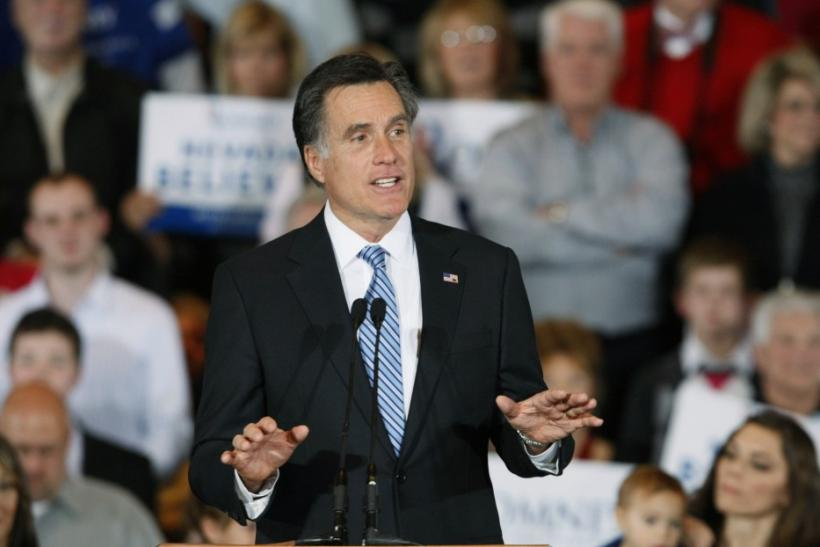 Mitt Romney addresses supporters at his Nevada caucus night rally in Las Vegas
