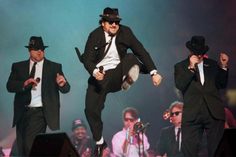 The Blues Brothers perform on stage during the half time show at Super Bowl XXXI