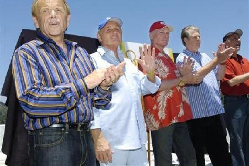 (L-R) Surviving Beach Boys members Al Jardine, Bruce Johnston, Mike Love, Brian Wilson and David Marks appear together for the first time in ten years on the rooftop of Capitol Records in Los Angeles