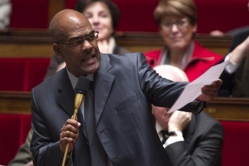 French deputy Serge Letchimy delivers a speech against the remarks by Interior Minister Claude during the government question session at the National Assembly in Paris