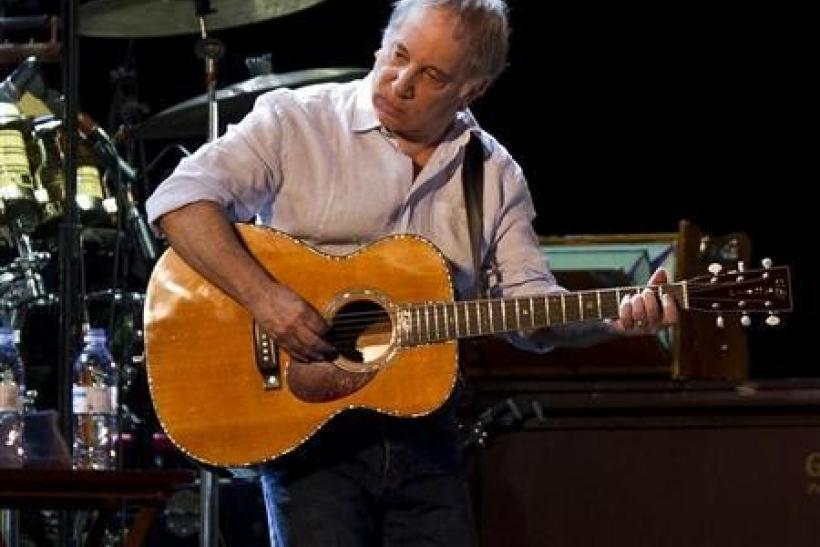 Musician Paul Simon performs onstage at the Ramat Gan Stadium near Tel Aviv