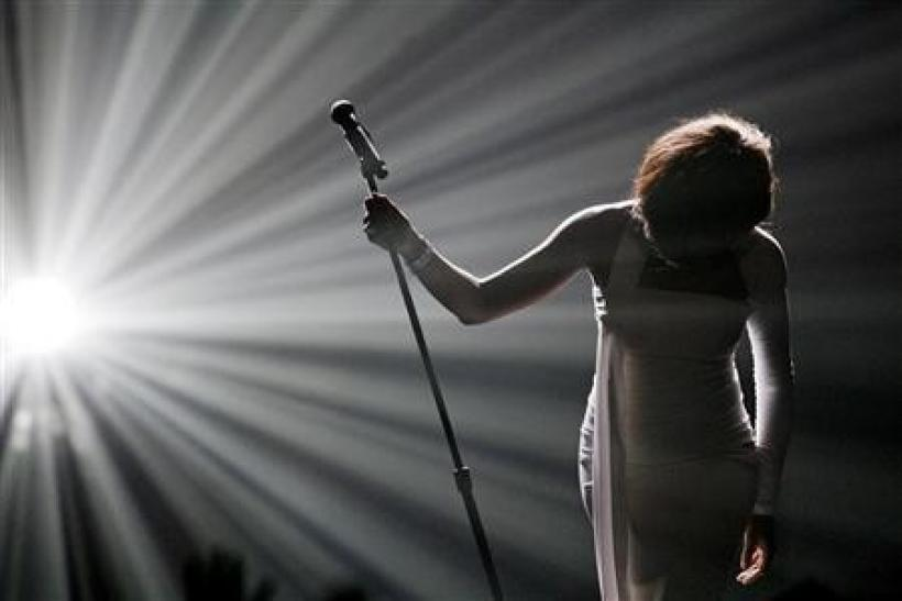 Whitney Houston bows after performing ''I Didn't Know My Own Strength'' at the 2009 American Music Awards in Los Angeles, California
