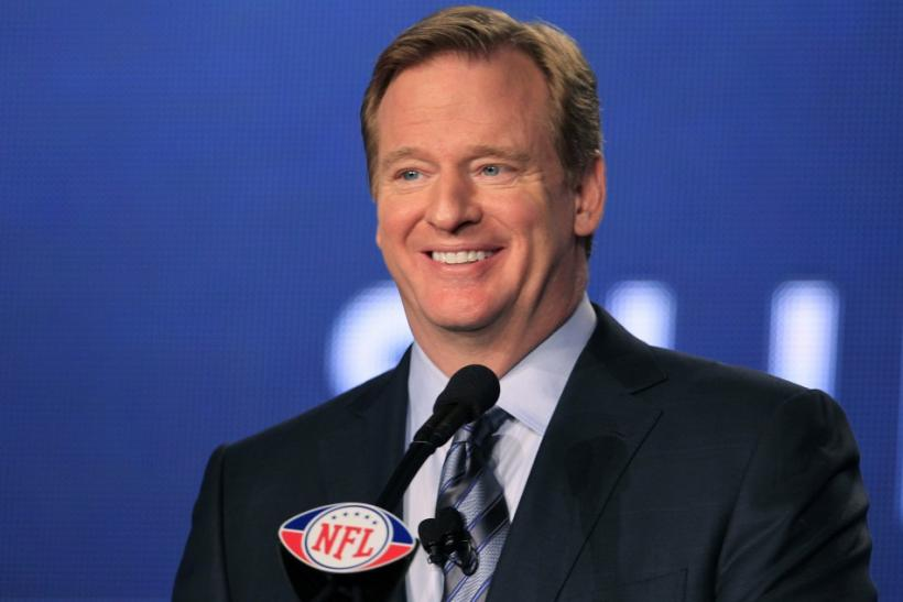 NFL Commissioner Roger Goodell speaks at a press conference before the Super Bowl two weeks ago.